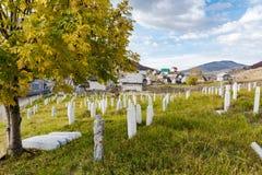 Cementerio musulmán en Lukomir, Bosnia foto de archivo