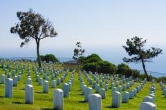 Cementerio nacional del pie Rosecrans en San Diego Foto de archivo libre de regalías