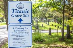 Cementerio titánico Lugar en la ciudad de Halifax en Canadá donde t imágenes de archivo libres de regalías