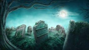 Cementerio viejo fantasmagórico Fotografía de archivo libre de regalías