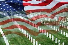 Cementerio y bandera Fotos de archivo libres de regalías