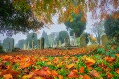 Cementery在秋天 库存照片