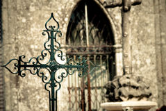 Cementery Cross. Detail of a metal cross in a Catholic cemetery Stock Photos