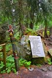 Cementery i den Strbske Pleso regionen på höga Tatras, Slovakien Arkivbild