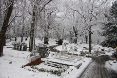 Cementery in the snow Royalty Free Stock Images
