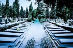 Cementery. Spanish cemetery located in Burgos, Spain. Covered by a heavy snowfall Stock Photos