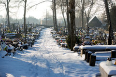 Cementery with tombstones and crosses, Stock Image