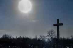Cementery with tombstones and crosses,. Cemetery with tombstones in winter landscape Stock Photo