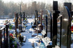 Cementery with tombstones and crosses, Stock Photography