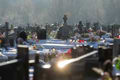 Cementery with tombstones and crosses,. Cemetery with tombstones in winter landscape Stock Photography
