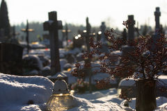 Cementery with tombstones and crosses, Stock Photo