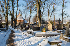 Cementery with tombstones and crosses, royalty free stock photos