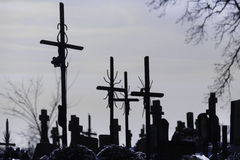 Cementery with tombstones and crosses, Royalty Free Stock Images