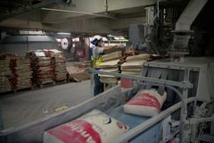Cementfabriksarbetare arkivbild