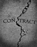 Cemento quebrado del contrato agrietado Imagen de archivo libre de regalías
