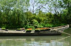 Cementowa łódź jeziorem Fotografia Stock