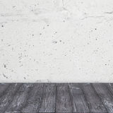 Cementowa ściana i rocznik drewniana podłoga Obrazy Royalty Free