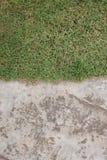 Cementowa podłoga i trawa Obrazy Royalty Free