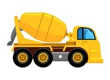 Cementowego melanżeru ciężarówka pracuje żółtego pojazdu betonowego melanżeru samochodowego wektorowego obrazek royalty ilustracja