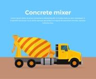 Cementowego melanżeru ciężarówki sztandaru projekta Płaski wektor Zdjęcie Royalty Free