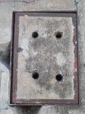 Cementowy ściekowy pokrywkowy tło obraz stock