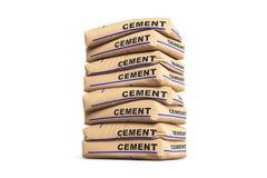 Cementpåsar Papperssäckar som isoleras på vit bakgrund framförande 3d Royaltyfri Bild