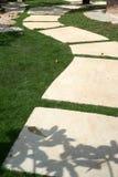 Cementvandringsled på gräs Arkivfoton