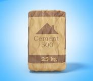 Cementzak op blauw 3D teruggevend beeld als achtergrond Royalty-vrije Stock Foto's