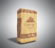 Cementzak op grijs 3D teruggevend beeld als achtergrond Stock Foto's