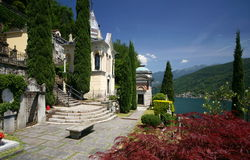 Cemetery. A number of well-known artists are buried in the Morcote, Switzerland, cemetery high above Lake Lugano Royalty Free Stock Photography