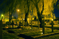Cemetary. Stone crosses at cemetary at night royalty free stock image