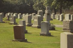 Cemetary. Cemetery and headstones with names removed Royalty Free Stock Photo