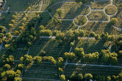 Cemetary from above. Rows of tomb stones and plots view from above Stock Photo