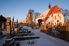 Cemetary and church in Krtenov village Royalty Free Stock Photos