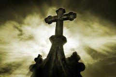 Cemetary crucifix. Old cemetary crucifix stock photo