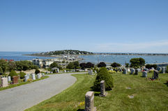 Cemetary at Hull 1. A view from the cemetary at hull MA, which is on a hill and has a view of the ocean and harbor Royalty Free Stock Photos