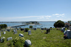 Cemetary at Hull 2. Cemetary at Hull MA, which is atop a hill and has a view of the harbor and ocean Royalty Free Stock Images