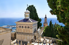 Cemetary of Menton. With a view on Mediterranean sea Royalty Free Stock Images