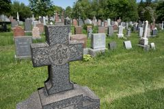 Cemetary stone cross Royalty Free Stock Image