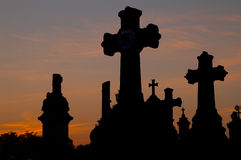 Cemetary. At sunset in France stock photography
