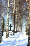 Cemetery. Cross catholic snow christ jesus royalty free stock photography