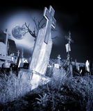 Cemetery. Halloween view of an abandoned graveyard Royalty Free Stock Photos