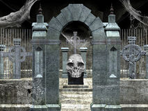 Cemetery. An halloween illustration: crypt with skulls and cobwebs Stock Photos