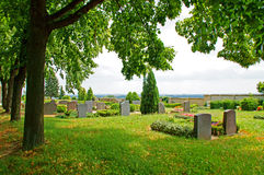 Cemetery. And several grave stones Stock Photo