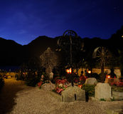 Cemetery. A late night with mountains in background Royalty Free Stock Photos