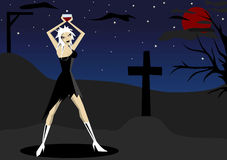 On cemetery. Vector illustration of vamp woman on cemetery Royalty Free Stock Photo