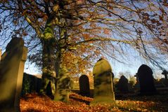 Cemetery. A Picturesque cemetery in Autumn Stock Photo