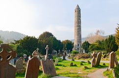 Cemetery. Round tower and cemetery in Glendalough, Ireland Stock Photography
