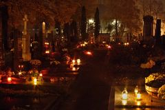 Cemetery. All Souls' Day at cemetery , Czech republic, Europe Royalty Free Stock Images