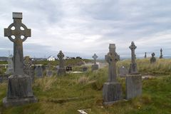 Cemetery. With celtic crosses on Inishmore island, Ireland Stock Photo